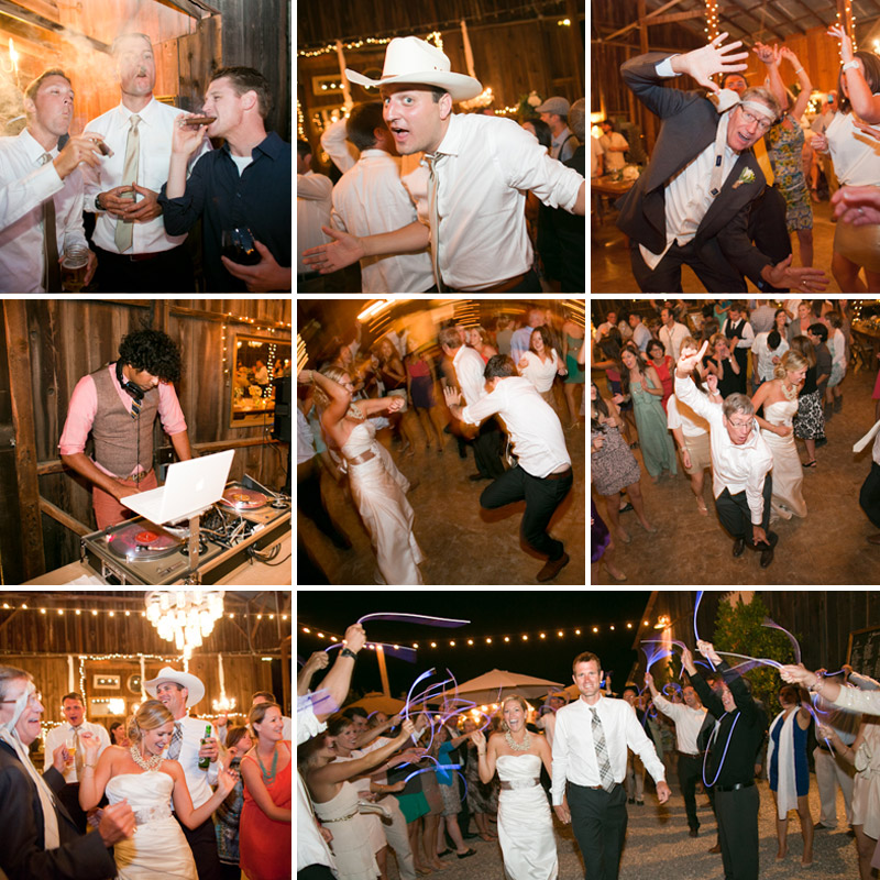 San Luis Obispo, Dana Powers Barn Wedding, details collage of bride and groom dancing with family and friends, DJ Malik Miko Thorne, groomsmen smoking at cigar bar and bride and grooms grand exit under glow sticks.