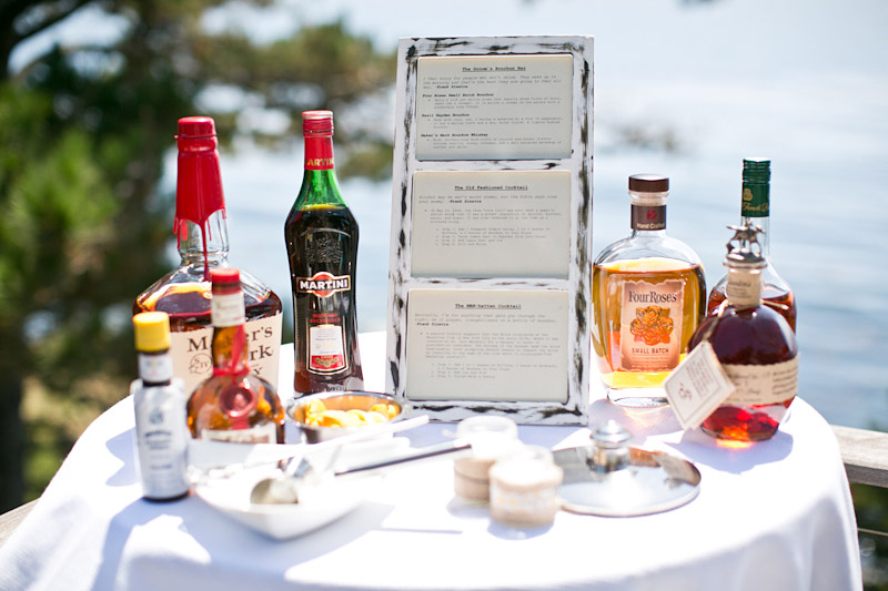 big sur wedding bar set up