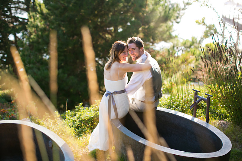 big sur wedding, portraits of the bride and groom by the hot tub