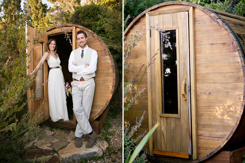 big sur wedding, portraits of the bride and groom by the sauna (1 0f 2)