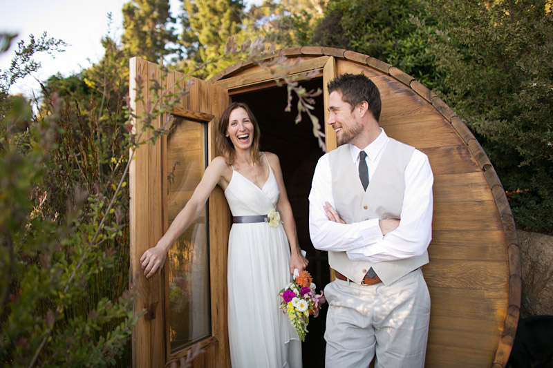 big sur wedding, portraits of the bride and groom by the sauna (2 of 2)