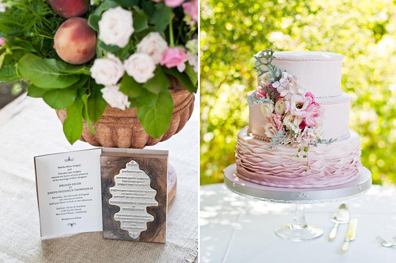 central coast wedding, invitation and wedding cake