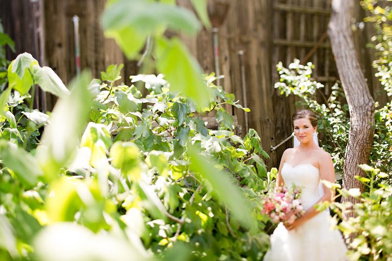 slo wedding photos, bride in the garden