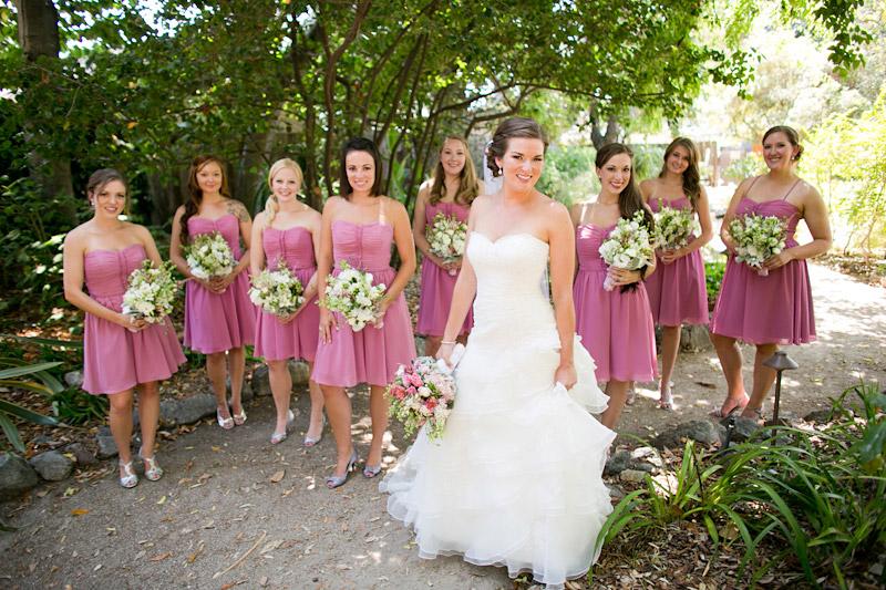 slo wedding photos, bridal party in the garden