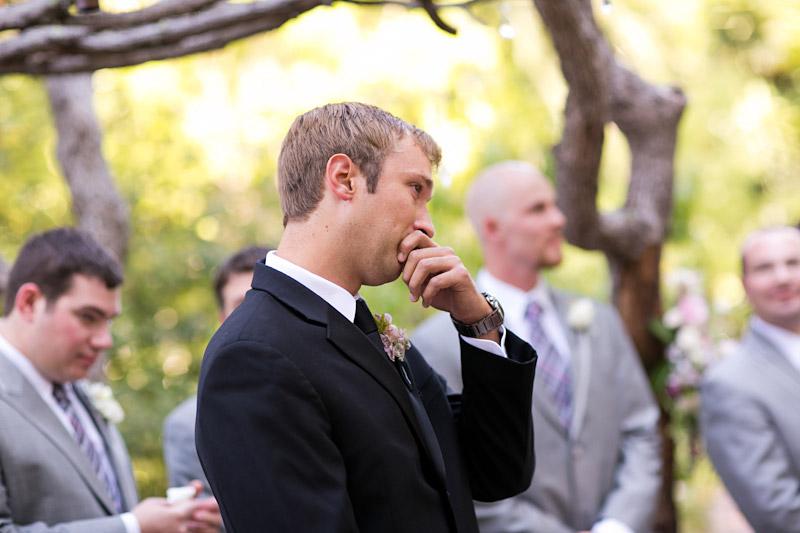 san luis obispo wedding, groom watching bride walk down the aisle