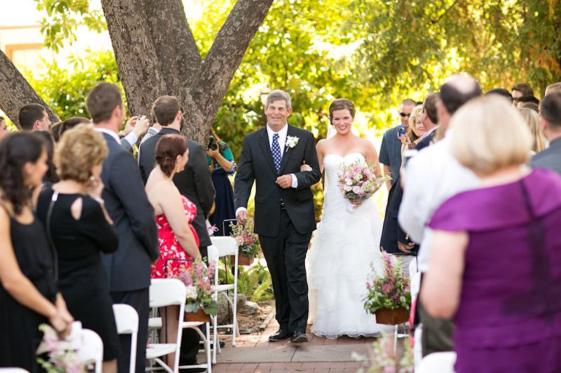 san luis obispo wedding, father walking bride down the aisle