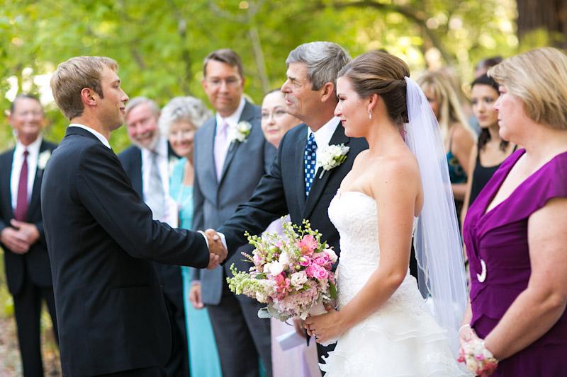 san luis obispo wedding, father handing off bride