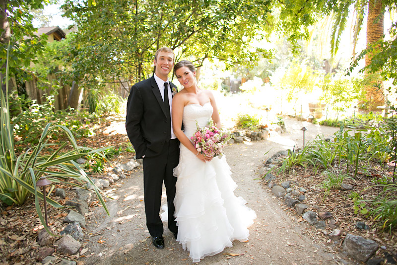 central coast wedding, portraits of the bride and groom in a garden (1 of 4)