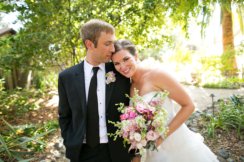 central coast wedding, portraits of the bride and groom in a garden (2 of 4)