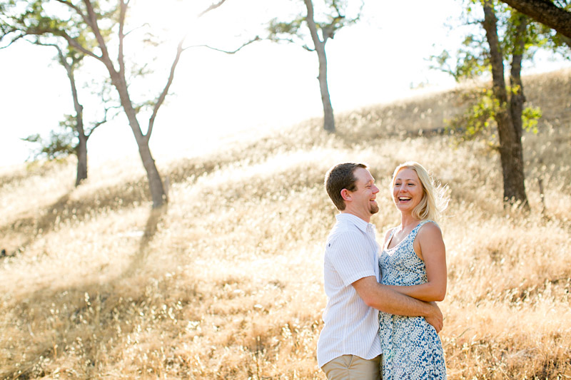central coast engagement photos, couple laughing in a field