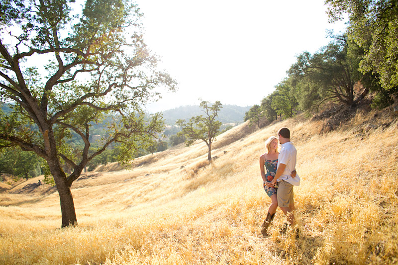 santa margarita lake engagement session in a field