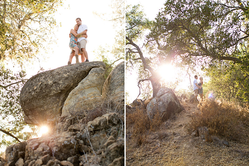 central coast engagement session, couple climbing on the rocks