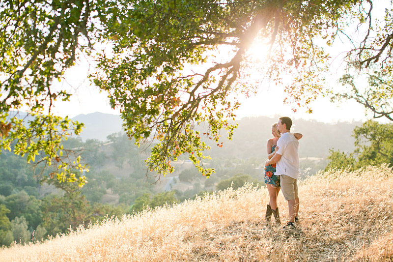 slo engagement photos, couple under a tree with beautiful lighting