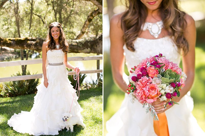 central coast wedding, bride, her dog and boquet