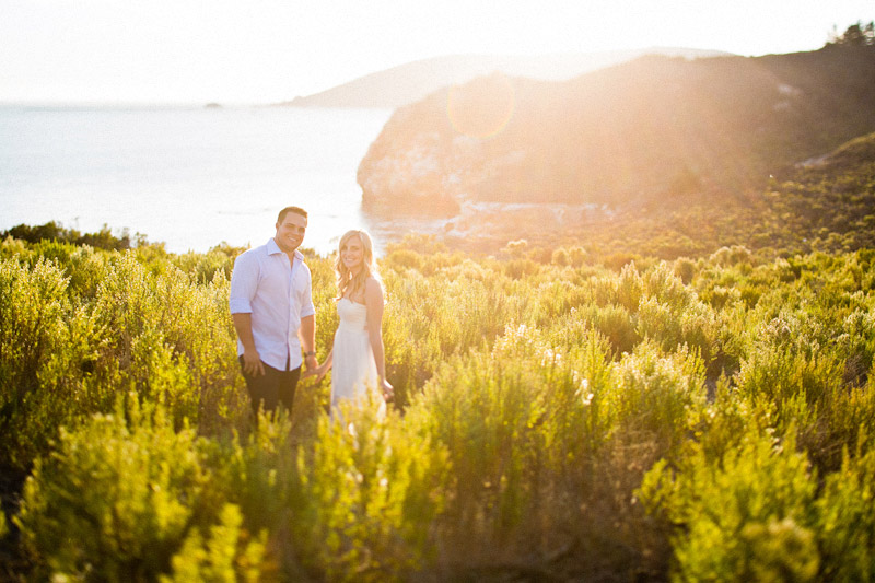 Avila Beach Engagement pictures of couple in glowing field on cliffs above the bay. (2 of 2)