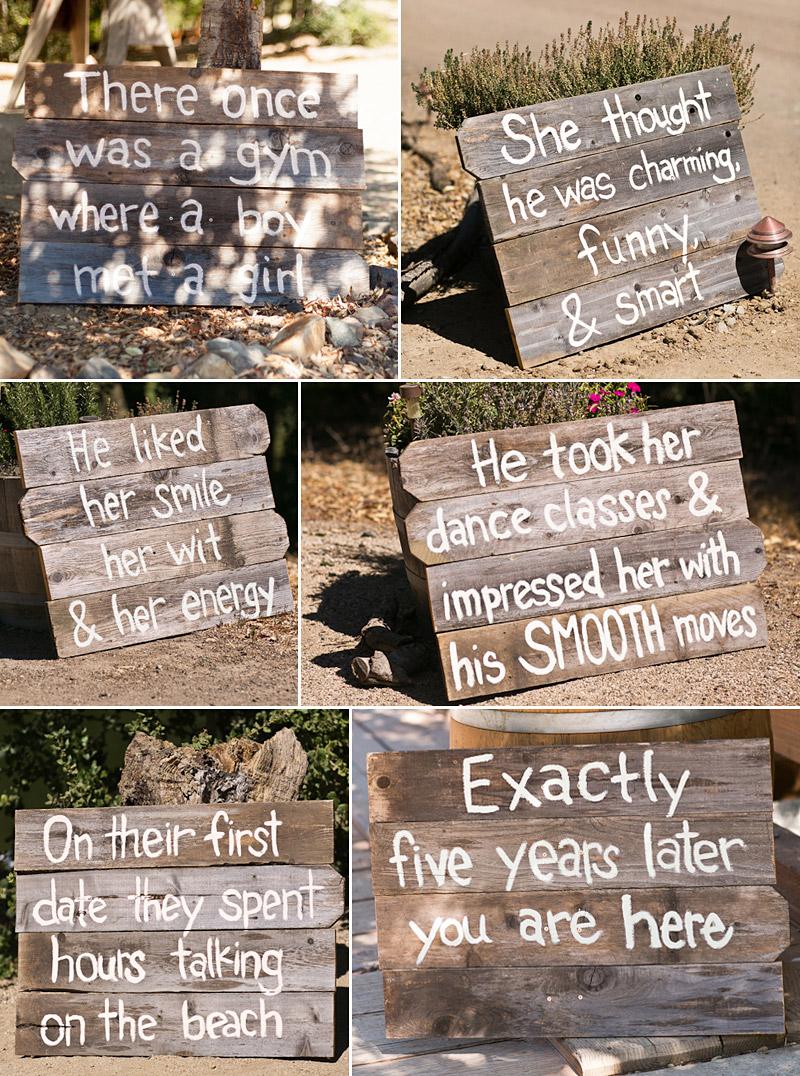 Lago Guiseppe Winery wedding, reclaimed barn wooden signs leading into the ceremony (1 of 2)
