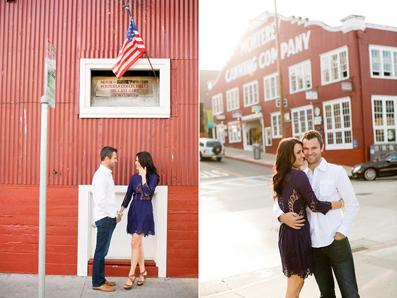 Monterey Engagement Photos of couple on Canary Row with Monterey Canning Company in the background.