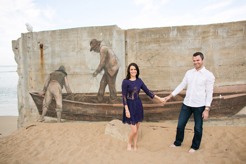 Monterey Engagement Photos of couple on the beach at Canary Row (1 of 4)