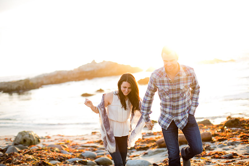 Monterey Engagement Photos of couple walking on the beach at 17 Mile Drive during sunset (5 of 5)