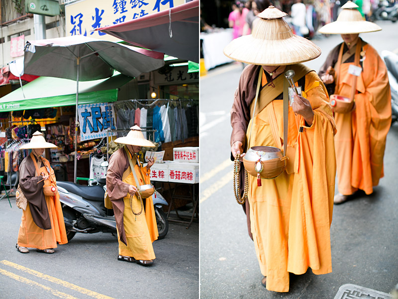 Taiwan wedding. Monks in the streets of day market.
