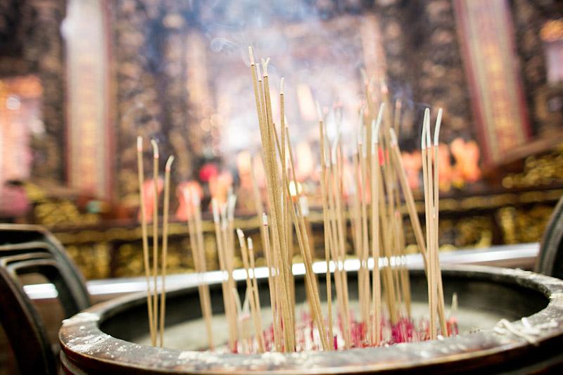 Taiwan wedding. Incense burning in temple. (2 of 2)