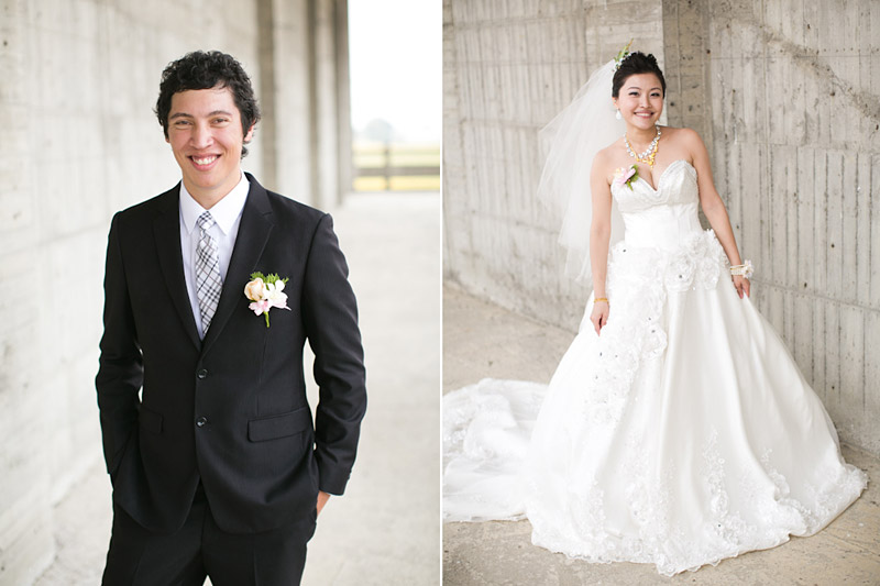 Taiwan wedding. Bride and groom portraits at temple.
