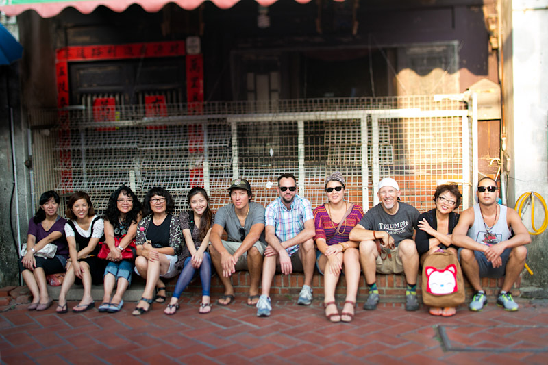 Bride and Groom's families hanging out shopping in Taiwan.
