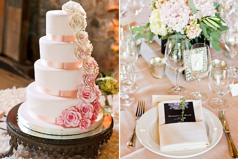 santa margarita ranch barn, wedding cake and favors