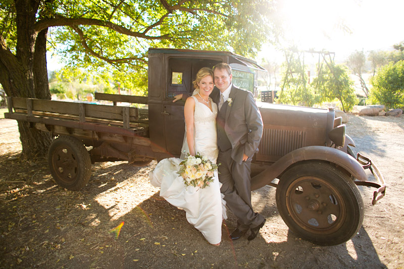 santa margarita ranch wedding portraits by an old car