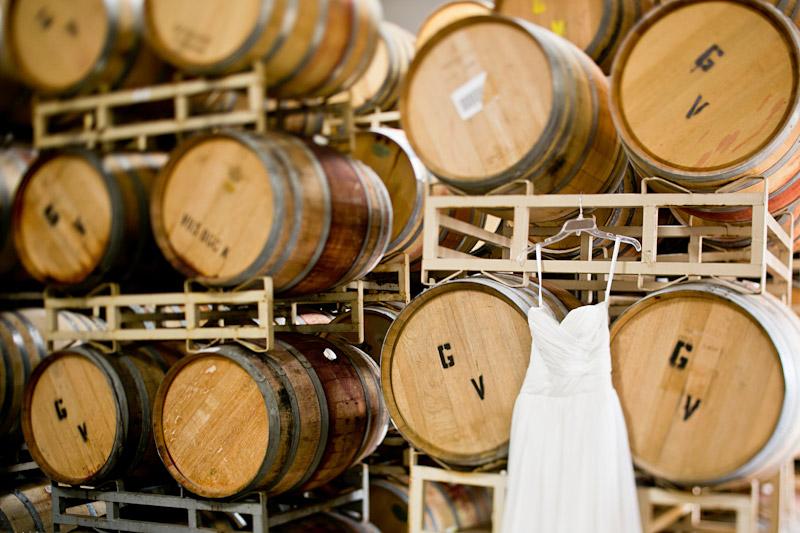san miguel wedding, wedding dress in the barrel room