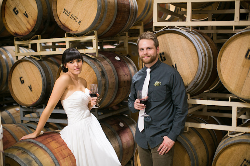 central coast wedding photography, bride and groom in the barrel room