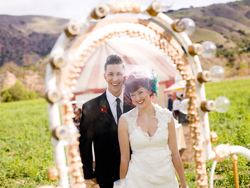 Ventura County vintage circus wedding Stacey & Josh in Christina Aguilera's vanity