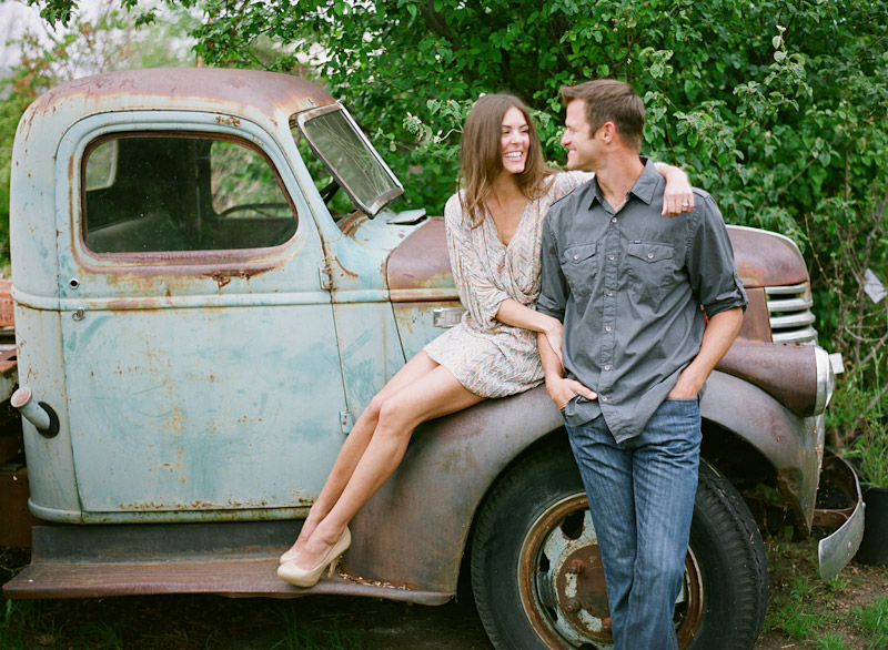 Santa Margarita Ranch, engagement photos of couple on vintage truck at nursury