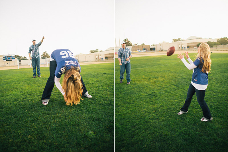 Morro Bay High School Engagement picture of Bear Pascoe of NY Giants & fiancé playing football by Cameron Ingalls. (1 of 3)