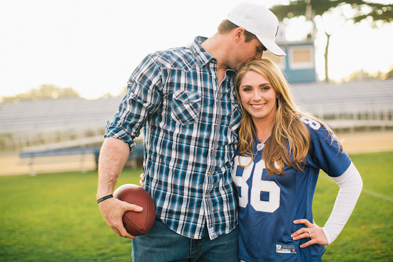 Morro Bay High School Engagement picture of Bear Pascoe of NY Giants & fiancé playing football by Cameron Ingalls. (3 of 3)