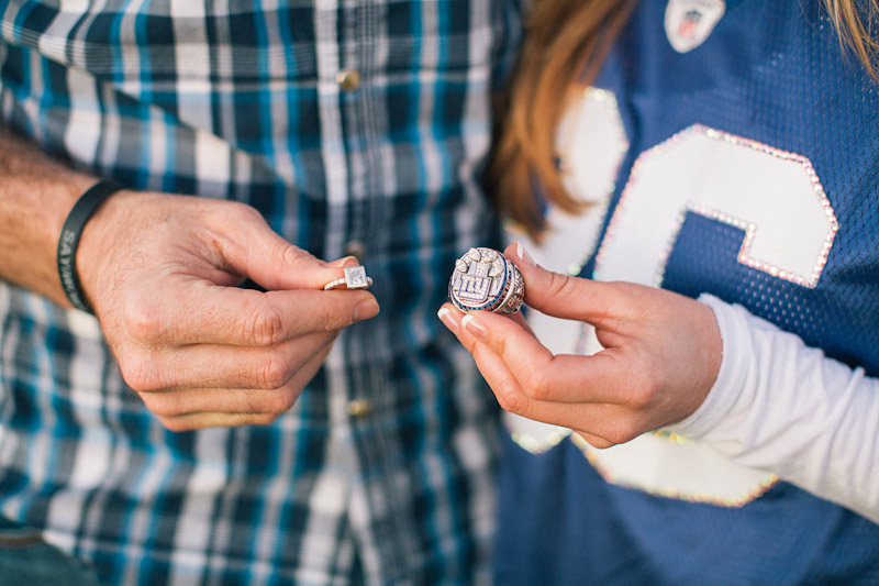 Morro Bay High School Engagement picture of Bear Pascoe of NY Giants & fiancé holding engagement ring and Super Bowl 2012 ring by Cameron Ingalls.