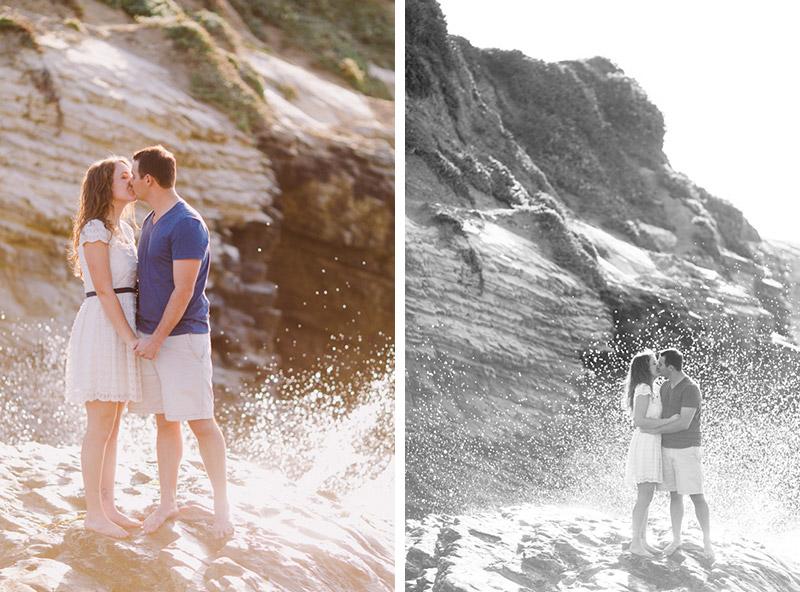 Montana De Oro, couple kissing on a rock, with ocean spray