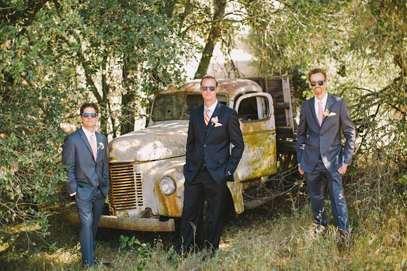 Paso Robles Ranch & Vineyard, groomsmen standing by old truck