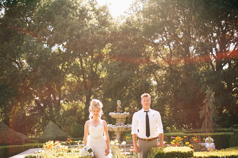 Parisian Wedding Inspiration, couple standing in garden