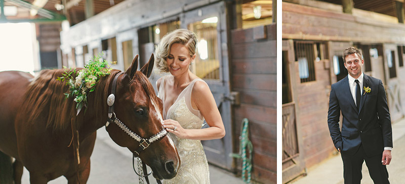 Central Coast rustic ranch wedding venue, Greengate ranch, bride in horse barn petting horse.