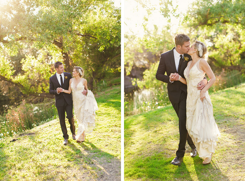 Central Coast rustic ranch wedding venue, Greengate ranch, bride and groom walking near pond. (2 of 2)