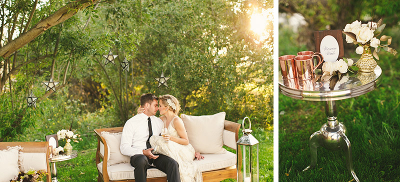 Central Coast rustic ranch wedding venue, Greengate ranch,  bride and groom sitting on a couch next to pond. (1 of 2)