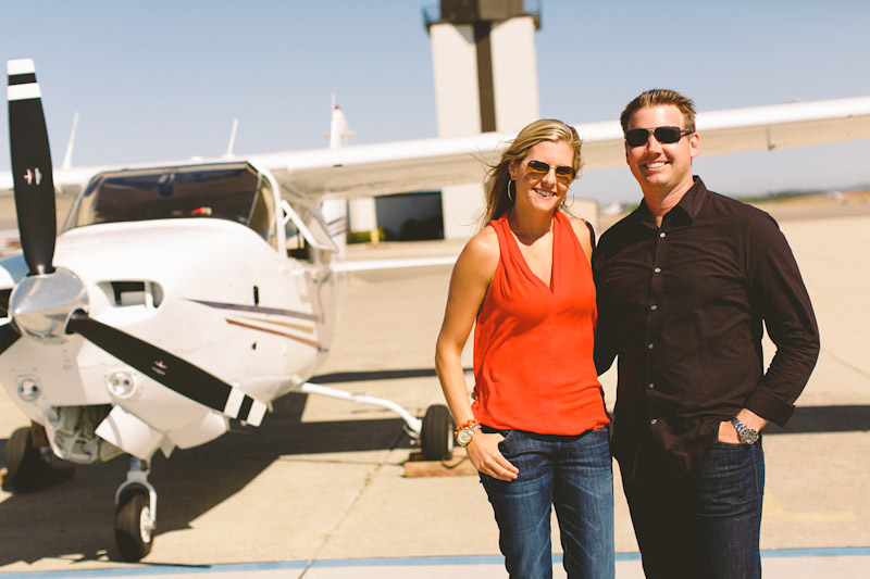 San Luis Obispo / Santa Margarita Ranch, couple in front of airplane (1of 6)