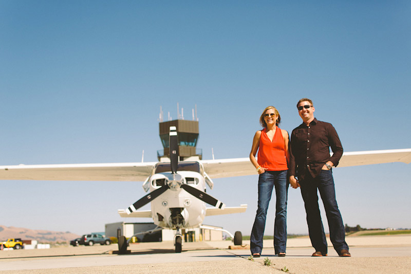 San Luis Obispo / Santa Margarita Ranch, couple in front of airplane (3 of 6)