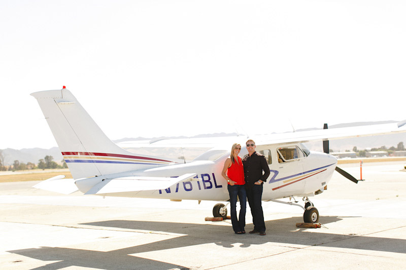 San Luis Obispo / Santa Margarita Ranch, couple in front of airplane (4 of 6)