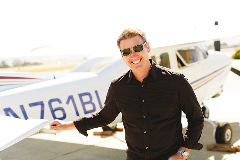 San Luis Obispo / Santa Margarita Ranch, groom in front of airplane