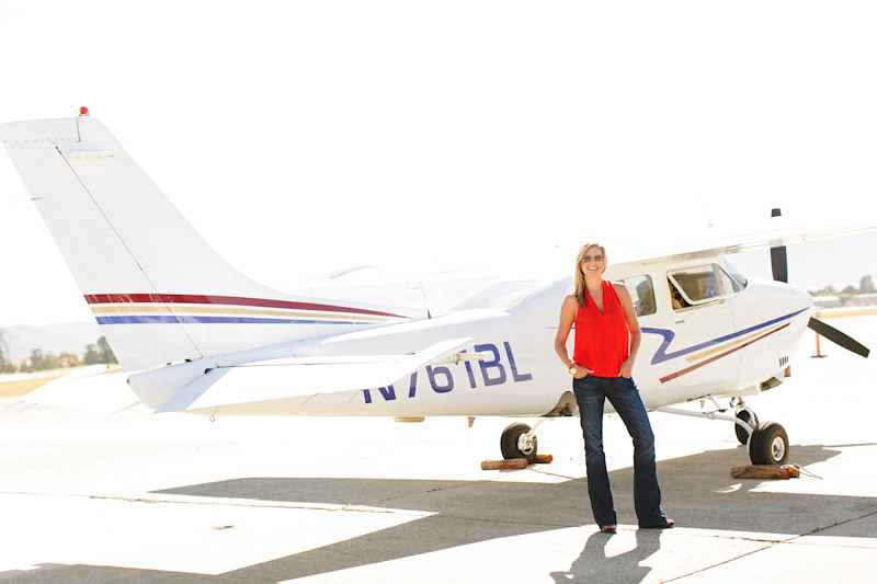 San Luis Obispo / Santa Margarita Ranch, bride in front of airplane