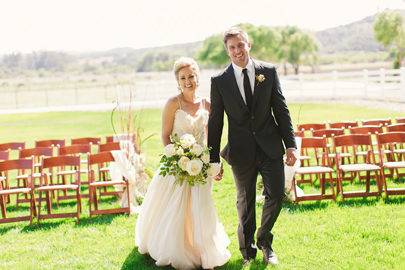 Central Coast rustic ranch wedding venue, Greengate ranch, couple walking down aisle at ceremony site.