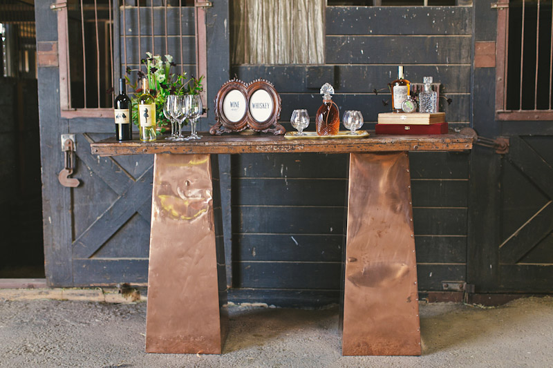 Central Coast rustic ranch wedding venue, Greengate ranch, bar set up in horse barn.