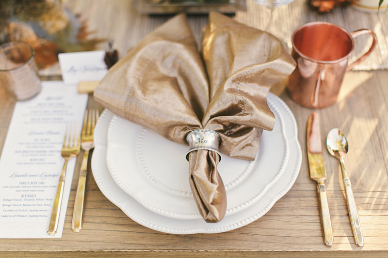 Central Coast rustic ranch wedding venue, Greengate ranch, table setting, closeup on plates and napkins. (2 of 2)